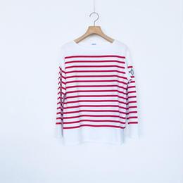 <women>FABRIQUE en planete terre(ファブリケアン プラネテール) ジンバブエコットン バスクシャツ/ホワイト×レッド 38サイズ