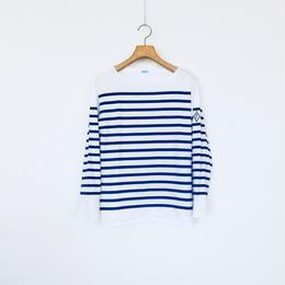 <women>FABRIQUE en planete terre(ファブリケアン プラネテール) ジンバブエコットン バスクシャツ/ホワイト×ブルー 38サイズ