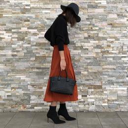 綿ツイルサッシュベルト付きタックカラースカート【クリックポスト対象商品】