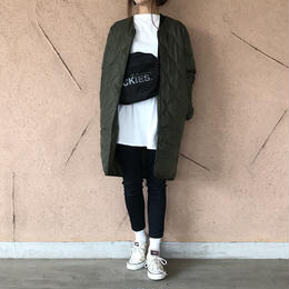 ノーカラーミドル丈キルティングコート/ライトアウター(2color)