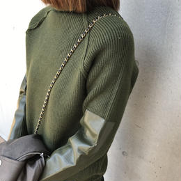 袖パッチワークタートルニット/セーター(3color)