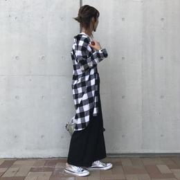 再入荷★ビックシルエット/ロングチェックシャツ/ブラック【クリックポスト対象商品】