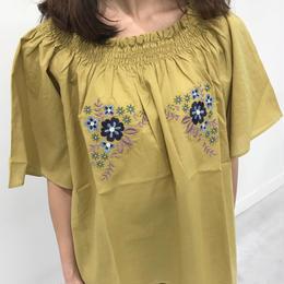 2WAY刺繍入りオフショルブラウス/五分袖プルオーバー(4color)【クリックポスト対象商品】