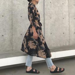 ウエストリボン付きレトロ花柄ロングガウン(2color)【クリックポスト対象商品】