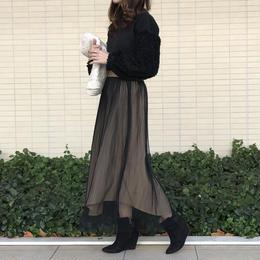 チュールプリーツx綿ツイル リバーシブルアシンメトリースカート(4color)【クリックポスト対象商品】