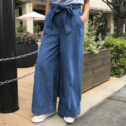 リボンベルト付き裾ロールアップワイドデニムパンツ(3color)