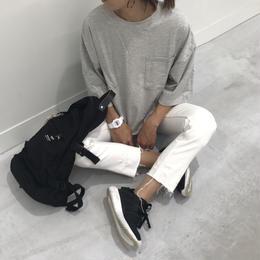 ビッグシルエットポケット付きスウェットTシャツ(4color)【クリックポスト対象商品】
