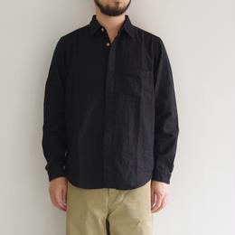 THE HINOKI / リネンコットンのポケットワークシャツ / BLACK