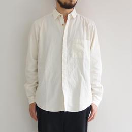 THE HINOKI / リネンコットンのポケットワークシャツ / WHITE