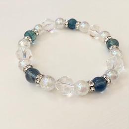 ☆ブルーフローライトと水晶のブレスレット☆五芒陣◆青蛍石◆