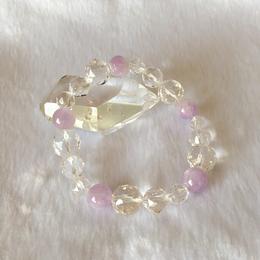 【深い愛と癒し】ラベンダーアメジストと5Aスターカット水晶のブレスレットL☆五芒陣