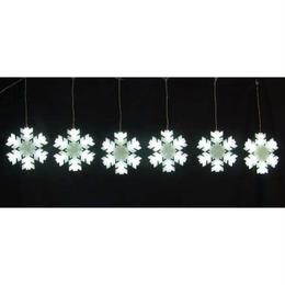 イルミネーション ディスプレイ 飾り 照明 ライティング クリスマス  雪 結晶 LED ホワイト スノーフレークカーテン 6連 【LDCM077】CR-81