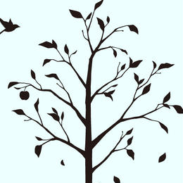 。:*林檎の木と小鳥*:。ブラック【Lサイズ】 高級ウォールステッカー転写タイプ