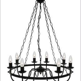 LED【8灯 サークル型チェーンシャンデリア】 (ブラック)白熱電球付 アンティーク 照明 灯り サークル ゴスペル ショップ ディスプレイ 豪華 JR