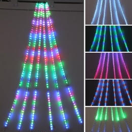 LED 室内用 イルミネーション 点滅 ディスプレイ 飾り 照明 ライティング クリスマス RGB ドレープライト  23パターン 【504球】 CR-63