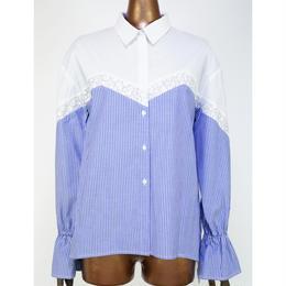 doll up oops ストライプ切り替え コットンシャツ 〔62950-01〕