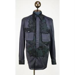Kohshin Satoh 一点もの パッチワーク装飾 シャツ メンズ〔SL-206-1〕