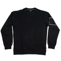 """STREET X"" PIPED CREWNECK PULLOVER (BLACK)"