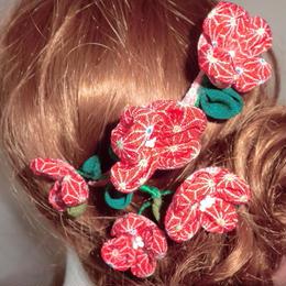 つまみのお花の櫛 赤