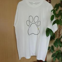 オリジナルネコちゃんTシャツ 足跡 小っちゃいネコが隠れてる・・・