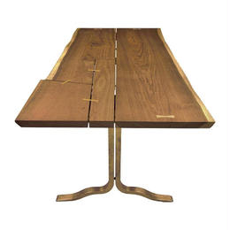 SQUARE ROOTS SIVA PATCHWORK DINING TABLE SMOKED OAK BRASS LEG