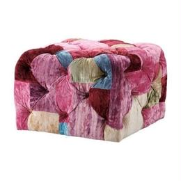 HALO BENSINGTON SMALL SQUARE FOOTSTOOL VELVET PATCHWORK BOHEM