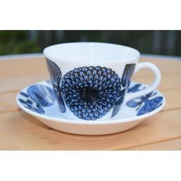 【北欧ヴィンテージ】【GUSTAVSBERG】【STIG LINDBERG】ブルーアスター コーヒーカップ&ソーサー