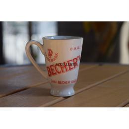 【東欧レトロ雑貨】【チェコスロバキア】【Karlovy Vary】【Becher's Liqour】ヤン・ベヘール ショットカップ(レッド)