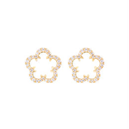 Kikyo Crest mini pierced earrings K18YG