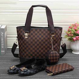 高品質 LOUIS VUITTON/ルイヴィトン 3点セット(トートバッグ+長財布×靴)コーヒー