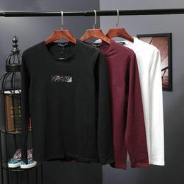 アルマーニ 刺繍 人気新品 tシャツ 長袖 茶色 男女兼用 メンズ愛用 激安 上質 秋物
