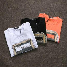 アルマーニ 上質 メンズファッション 人気 Tシャツ 3色選択 オレンジ ホワイト ブラック 男女兼用 夏