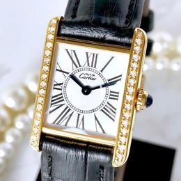 Cartier カルティエ タンク オパラン ベルト2色付 ダイヤモンド 34P 腕時計