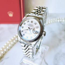ROLEX ロレックス 10Pダイヤモンド デイトジャスト K18WGベゼル 自動巻 レディース 腕時計