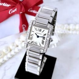 Cartier カルティエ 鏡面仕上げ タンクフランセーズ ハーフブレスダイヤモンド 腕時計