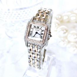 Cartier カルティエ パンテール コンビ 95P 2重ベゼル 天然ダイヤモンド  クォーツ レディース 腕時計