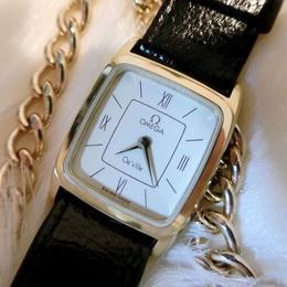 OMEGAオメガ スクエア レザーベルト 腕時計