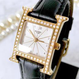 HERMES エルメス Hウォッチ ベルト2色付き 高級天然ダイヤモンド 64P ゴールド クォーツ レディース 腕時計