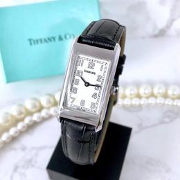 Tiffany ティファニー クラシック スクエア ベルト2色付き ホワイト文字盤 クォーツ レディース 腕時計