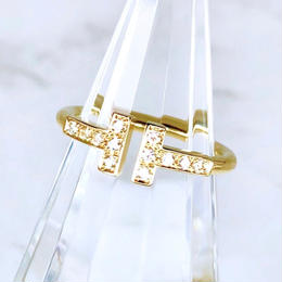 Tiffany ティファニー Tワイヤー  ダイヤモンド K18YG 12P 6号 リング