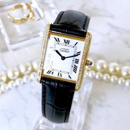 Cartier カルティエ タンク ホワイト文字盤 ベルト2色付 ダイヤモンド 腕時計
