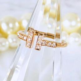 Tiffany ティファニー Tワイヤーリング ダイヤモンド K18PG 12P 7号 リング