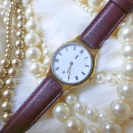 YSL サンローラン ワインピンクベルト 腕時計