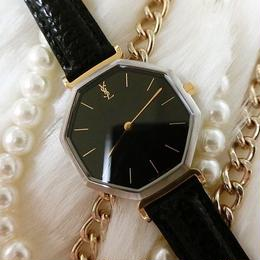 YSLイヴサンローラン ブラック文字盤 レザーベルト腕時計