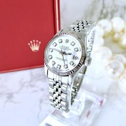 ROLEX ロレックス 10P 天然ダイヤモンド K18WGベゼル デイトジャスト 自動巻 レディース 腕時計