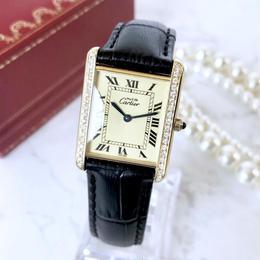 Cartier カルティエ OH済 タンク ダイヤモンド ゴールド 腕時計