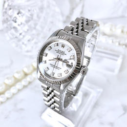 ROLEX ロレックス OH済み オイスター 天然ダイヤモンド 10P デイトジャスト K18WG 自動巻 レディース 腕時計