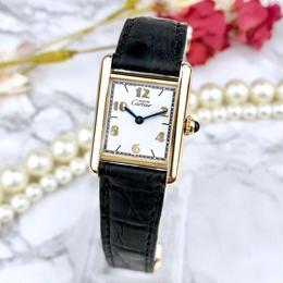 Cartier OH済 カルティエ タンク ベルト2色付 アラビア文字盤 腕時計