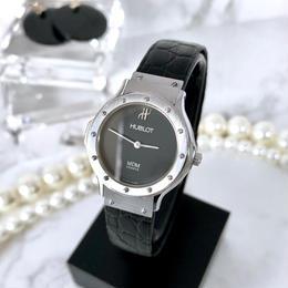 HUBLOT ウブロ クラシック クロコ型押しレザーベルト シルバー クォーツ レディース 腕時計