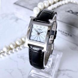HERMES エルメス Hウォッチ ベルト2色付き シルバー  クォーツ レディース 腕時計